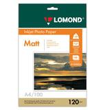 Фотобумага для струйной печати, А4, 120 г/м<sup>2</sup>, 100 листов, односторонняя матовая, LOMOND, 0102003