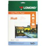 Фотобумага для струйной печати, А4, 160 г/м<sup>2</sup>, 100 листов, односторонняя матовая, LOMOND, 0102005