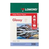 Фотобумага для струйной печати, А4, 200 г/м<sup>2</sup>, 50 листов, односторонняя глянцевая, LOMOND, 0102020