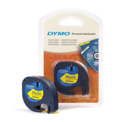 Картридж для принтеров этикеток DYMO Letra Tag, 12 мм х 4 м, лента пластиковая, желтая, S0721620