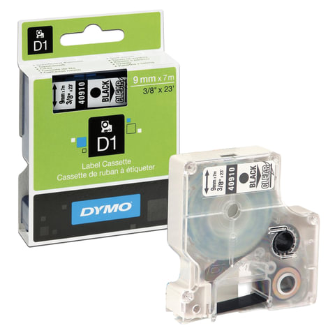 Картридж для принтеров этикеток DYMO D1, 9 мм х 7 м, лента пластиковая, чёрный шрифт, прозрачный фон, S0720670