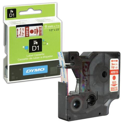 Картридж для принтеров этикеток DYMO D1, 9 мм х 7 м, лента пластиковая, красный шрифт, белый фон, S0720700
