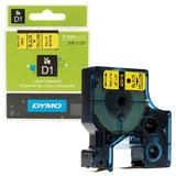 Картридж для принтеров этикеток DYMO D1, 9 мм х 7 м, лента пластиковая, чёрный шрифт, желтый фон, S0720730