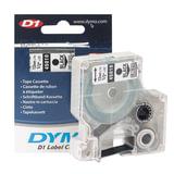 Картридж для принтеров этикеток DYMO D1, 12 мм х 7 м, лента пластиковая, чёрный шрифт, прозрачный фон, S0720500