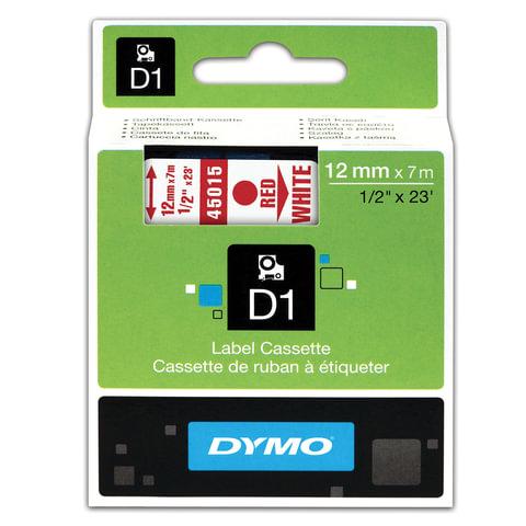 Картридж для принтеров этикеток DYMO D1, 12 мм х 7 м, лента пластиковая, красный шрифт, белый фон, S0720550