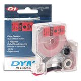 Картридж для принтеров этикеток DYMO D1, 12 мм х 7 м, лента пластиковая, чёрный шрифт, красный фон, S0720570