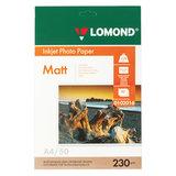 Фотобумага для струйной печати, А4, 230 г/м<sup>2</sup>, 50 листов, односторонняя матовая, LOMOND, 0102016