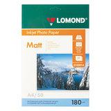 Фотобумага для струйной печати, А4, 180 г/м<sup>2</sup>, 50 листов, односторонняя матовая, LOMOND, 0102014