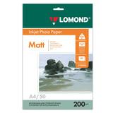 Фотобумага для струйной печати, А4, 200 г/м<sup>2</sup>, 50 листов, двухсторонняя, матовая, LOMOND, 0102033