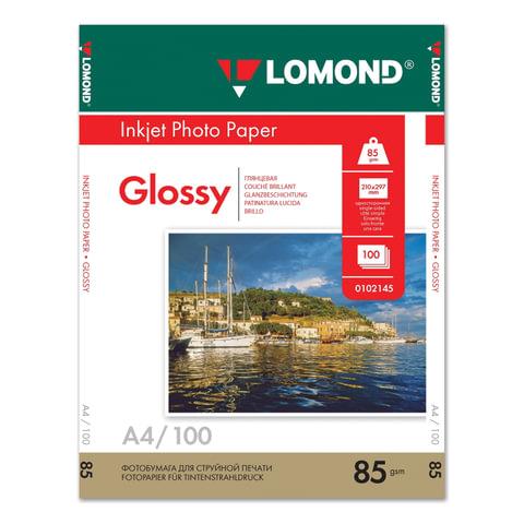 Фотобумага LOMOND для струйной печати, A4, 85 г/м<sup>2</sup>, 100 л., односторонняя глянцевая, 0102145
