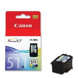 Картридж струйный CANON (CL-511) Pixma MP240/MP260/MP480, цветной, оригинальный, ресурс 244 стр., 2972B007