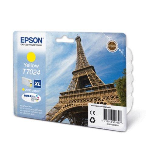 Картридж струйный EPSON (C13T70244010) WorkForce Pro WP4015/4025/4515/4525/4545, желтый, оригинальн.