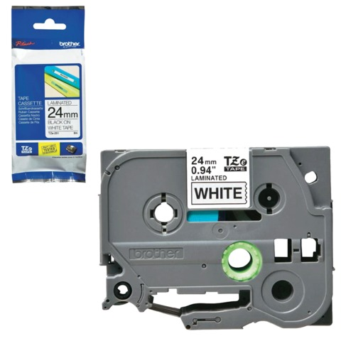 Картридж для принтеров этикеток BROTHER TZE251, 24 мм х 8 м, чёрный шрифт, белый фон, ламинированная, TZE-251