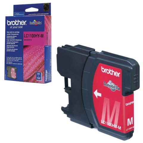 Картридж струйный BROTHER (LC1100HYM) DCP-6690CW/MFC-5890CN/5895CW и др., пурпурный, оригинальный, ресурс 750 стр.