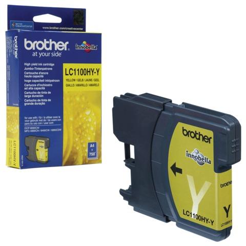 Картридж струйный BROTHER (LC1100HYY) DCP-6690CW/MFC-5890CN/5895CW и др., желтый, оригинальный, ресурс 750 стр.