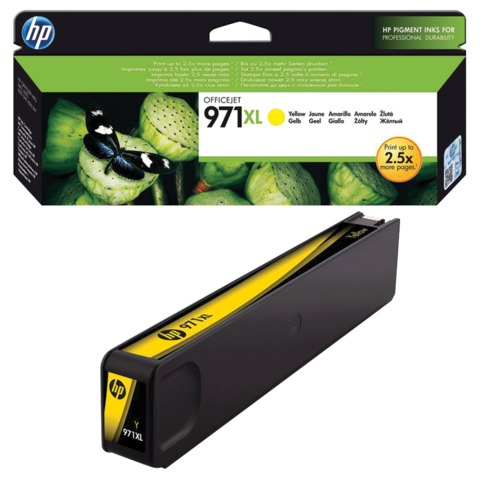 Картридж струйный HP (CN628AE) OfficeJet Pro X576/476/451/551, №971XL, желтый, оригинальный, ресурс 6600 стр.