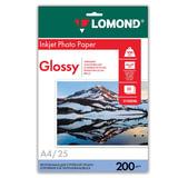 Фотобумага для струйной печати, А4, 200 г/м<sup>2</sup>, 25 листов, односторонняя глянцевая, LOMOND, 0102046