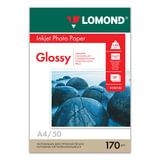 Фотобумага для струйной печати, А4, 170 г/м<sup>2</sup>, 50 листов, односторонняя глянцевая, LOMOND, 0102142