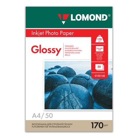 Фотобумага LOMOND для струйной печати, А4, 170 г/м<sup>2</sup>, 50 л., односторонняя глянцевая, 0102142
