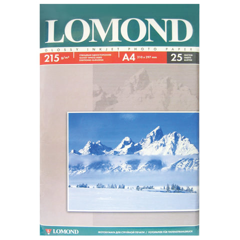 Фотобумага LOMOND для струйной печати, А4, 215 г/м<sup>2</sup>, 25 л., односторонняя, глянцевая, 0102080