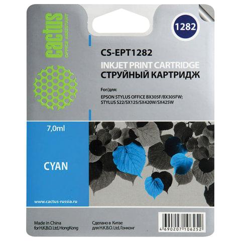 Картридж струйный EPSON (C13T12824011) Stylus S22/SX125/SX420W/BX305F и другие, голубой, CACTUS совместимый, CS-EPT1282