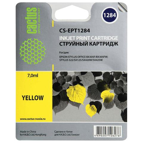 Картридж струйный EPSON (C13T12844011) Stylus S22/SX125/SX420W/BX305F и другие, желтый, CACTUS совместимый, CS-EPT1284