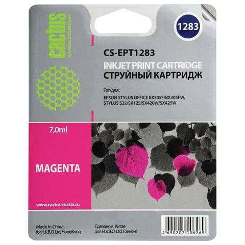 Картридж струйный EPSON (C13T12834011) Stylus S22/SX125/SX420W/BX305F и другие, пурпурный, CACTUS совместимый, CS-EPT1283