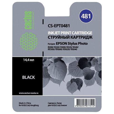 Картридж струйный EPSON (T048140) Stylus Photo R200/R300/RX500 и другие, черный, CACTUS совместимый, CS-EPT0481