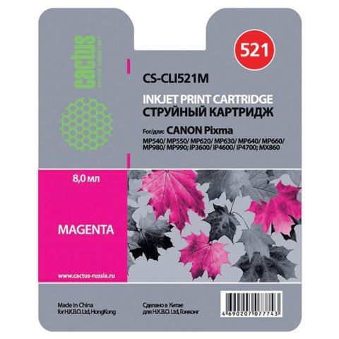 Картридж струйный CANON (CLI-521M) Pixma MP540/630/980, пурпурный, CACTUS совместимый, CS-CLI521M
