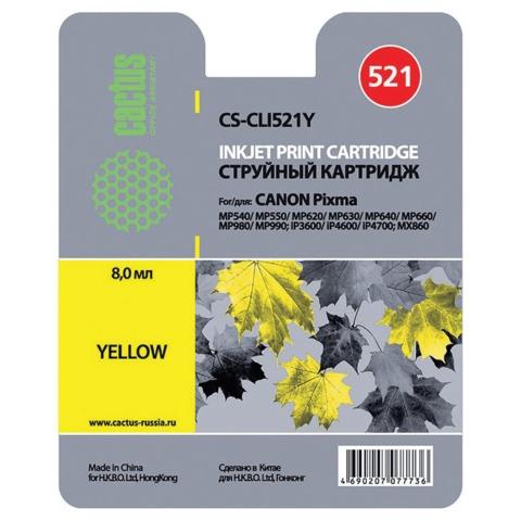 Картридж струйный CANON (CLI-521Y) Pixma MP540/630/980, желтый, CACTUS совместимый, CS-CLI521Y