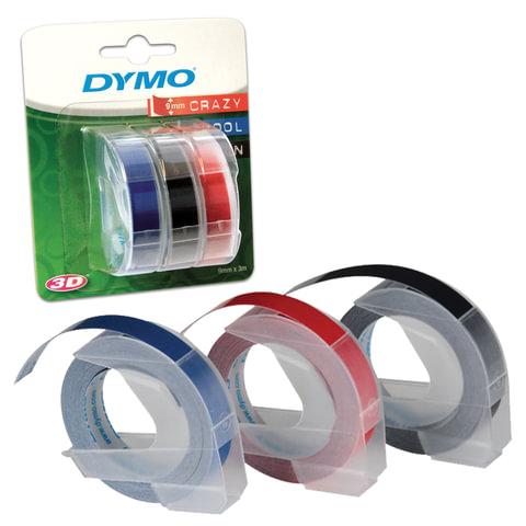 Картридж для принтеров этикеток DYMO Omega, 9 мм х 3 м, белый шрифт, черный, синий, красный фон, комплект 3 шт., S0847750