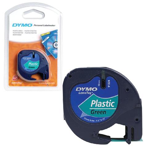 Картридж для принтеров этикеток DYMO LetraTag, 12 мм х 4 м, лента пластиковая, зеленая, S0721640