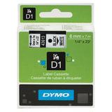 Картридж для принтеров этикеток DYMO D1, 6 мм х 7 м, лента пластиковая, чёрный шрифт, белый фон, S0720780