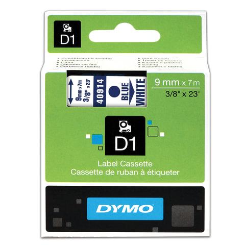Картридж для принтеров этикеток DYMO D1, 9 мм х 7 м, лента пластиковая, голубой шрифт, белый фон, S0720690