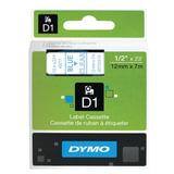 Картридж для принтеров этикеток DYMO D1, 12 мм х 7 м, лента пластиковая, голубой шрифт, прозрачный фон, S0720510