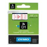 Картридж для принтеров этикеток DYMO D1, 12 мм х 7 м, лента пластиковая, красный шрифт, прозрачный фон, S0720520