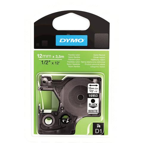 Картридж для принтеров этикеток DYMO D1, 12 мм х 3,5 м, лента нейлоновая, чёрный шрифт, белый фон, для неровных поверхностей, S0718040