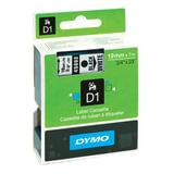 Картридж для принтеров этикеток DYMO D1, 19 мм х 7 м, лента пластиковая, чёрный шрифт, белый фон, S0720830