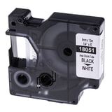 Картридж для принтеров этикеток DYMO Rhino, 6 мм х 1,5 м, термоусадочная трубка, черный шрифт, белая трубка, 18051