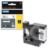 Картридж для принтеров этикеток DYMO Rhino, 12 мм х 3,5 м, лента нейлоновая, чёрный шрифт, неровная поверхность, белая, 18488