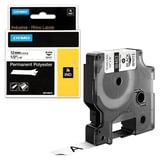 Картридж для принтеров этикеток DYMO Rhino, 12 мм х 5,5 м, лента полиэстерная, экстремальная температура, чёрный шрифт, белая, 18483