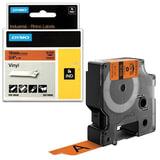 Картридж для принтеров этикеток DYMO Rhino, 19 мм х 5,5 м, лента виниловая, чёрный шрифт, оранжевая, 18436