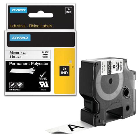 Картридж для принтеров этикеток DYMO Rhino, 24 мм х 5,5 м, лента полиэстерная, экстремальная температура, чёрный шрифт, белая, 1734523