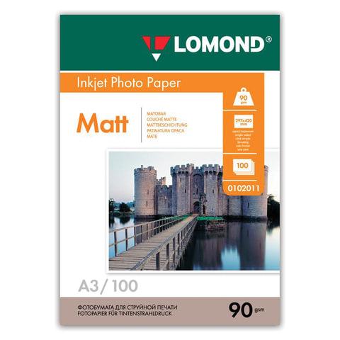 Фотобумага LOMOND для струйной печати, А3, 90 г/м<sup>2</sup>, 100 л., односторонняя, матовая, 0102011