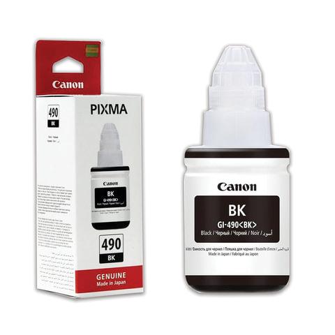 Чернила CANON (GI-490BK) для СНПЧ Pixma G1400\G2400\G3400, черные, ресурс 6000 стр., оригинальные, 0663C001