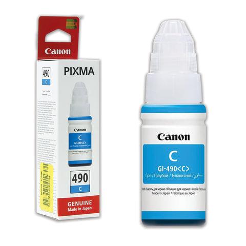 Чернила CANON (GI-490С) для СНПЧ Pixma G1400\G2400\G3400, голубые, ресурс 7000 стр., оригинальные, 0664C001