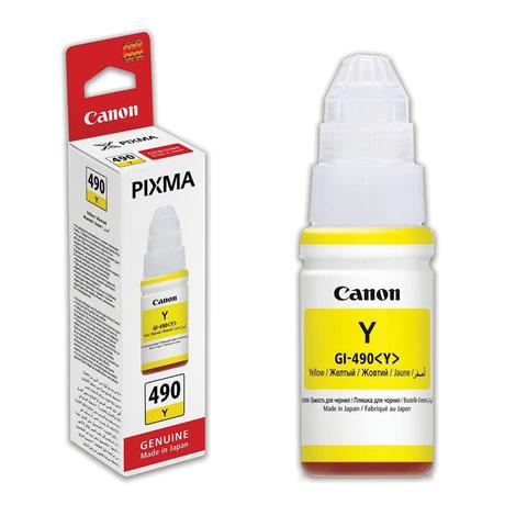 Чернила CANON (GI-490Y) для СНПЧ Pixma G1400\G2400\G3400, желтый, ресурс 7000 стр., оригинальные, 0666C001