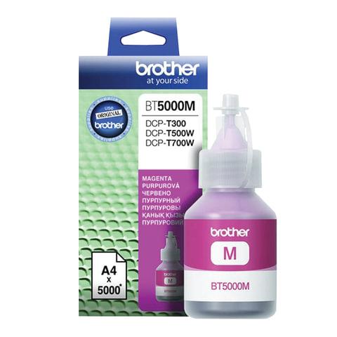 Чернила BROTHER (BT5000М) для СНПЧ Brother DCP-T310/T510W\T710W, пурпурные, оригинальные, ресурс 5000 страниц, BT5000M