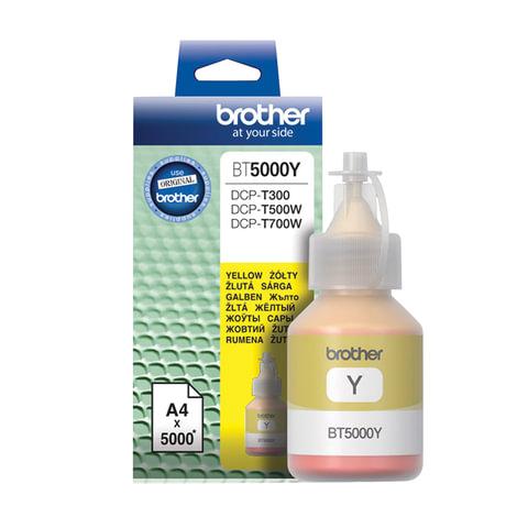 Чернила BROTHER (BT5000Y) для СНПЧ Brother DCP-T310/T510W\T710W, желтые, оригинальные, ресурс 5000 страниц