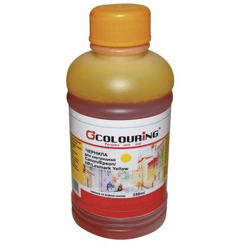 Чернила CANON / EPSON / HP / LEXMARK универсальные, желтый, 0,25 л, водные, COLOURING, СОВМЕСТИМЫЕ, 5180000094